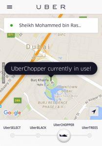 Prikaz postojećeg sustava letenja preko Uber aplikacije - Uber Chopper Dubai
