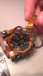 Disassembled camera during conversion into IR sensor.