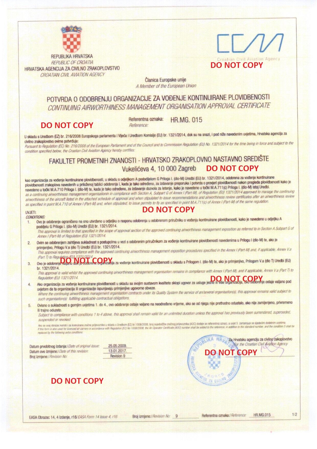 Zavod za aeronautiku hr145015 maintenance organisation approval certificate xflitez Image collections