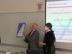 Prof. Ernest Bazijanac reciving a special letter of apritiation